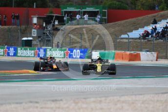 World © Octane Photographic Ltd. Formula 1 – F1 Portuguese GP, Race. Renault Sport F1 Team RS20 – Esteban Ocon and Aston Martin Red Bull Racing RB16 – Alexander Albon. Autodromo do Algarve, Portimao, Portugal. Sunday 25th October 2020.