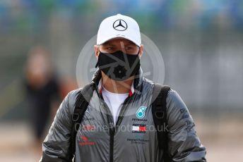 World © Octane Photographic Ltd. Formula 1 – F1 Portuguese GP, Paddock. Mercedes AMG Petronas F1 W11 EQ Performance - Valtteri Bottas. Autodromo do Algarve, Portimao, Portugal. Friday 23rd October 2020.