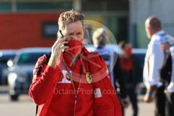World © Octane Photographic Ltd. Formula 1 – F1 Portuguese GP, Paddock. Scuderia Ferrari SF1000 – Sebastian Vettel. Autodromo do Algarve, Portimao, Portugal. Saturday 24th October 2020.
