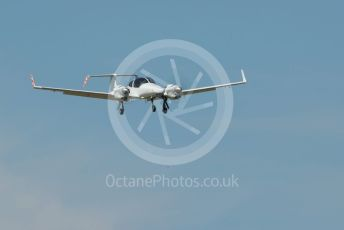 RAF Coningsby. Diamond DA42M-NG G-FFMV of Cobham Aviation Services comes in to land after a morning of probably bomb fall spotting at Donna Nook bombing range. 2nd June 2021. World © Octane Photographic Ltd.