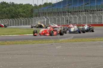 © Octane Photographic 2010. British F3 – Silverstone - Bridge circuit . James Cole leading the midfield on lap 1. 15th August 2010. Digital Ref : 0051CB7D1858