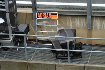 © Octane Photographic 2010. 2010 F1 Belgian Grand Prix, Friday August 27th 2010. Force India - Adrian Sutil's pitboard. Digital Ref : 0030LW7D9618