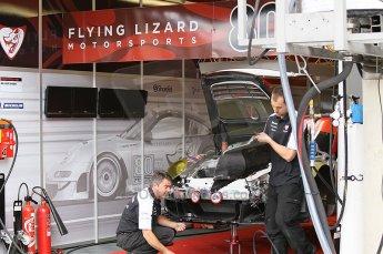 2010 Le Mans 24 Hour (24 Heures du Mans), 11th June 2010. Flying Lizard Motorsports - Porsche 997 GT3 RSR garage. Digital ref : CB1D2025