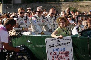 2010 Le Mans 24 Hour (24 Heures du Mans), 11th June 2010. Drivers' parade, Marc VDS Racing - Eric de Doncker, Bas Leinders, Markus Palttala. Digital ref : CB1D2384
