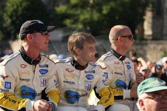 2010 Le Mans 24 Hour (24 Heures du Mans), 11th June 2010. Drivers' parade. Corvette Racing - Johnny O'Connell, Antonio Garcia, Jan Magnussen. Digital ref : CB1D2400