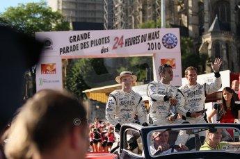 2010 Le Mans 24 Hour (24 Heures du Mans), 11th June 2010. Drivers' parade. Strakka Racing - Danny Watts, Nick Leventis, Johnny Kane. Digital ref : CB1D2438