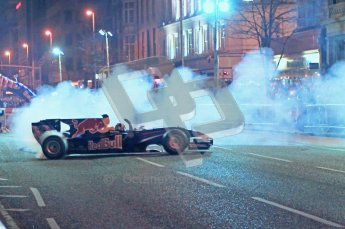 World © Octane Photographic 2010. 2010 Red Bull City Limits street demo Belfast, David Coulthard. Digital ref : 0027CB1D4073