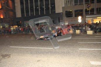 World © Octane Photographic 2010. 2010 Red Bull City Limits street demo Belfast, David Coulthard. Digital ref : 0027CB1D4098
