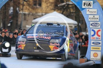 © North One Sport Ltd.2010 / Octane Photographic Ltd.2010. WRC Sweden Podium, February 14th 2010, Kimi Raikkonen and Kaj Lindstrom making a brief appearance on the podium in their Citroen C4 WRC (they didn't stop). Digital Ref : 0138CB1D3028