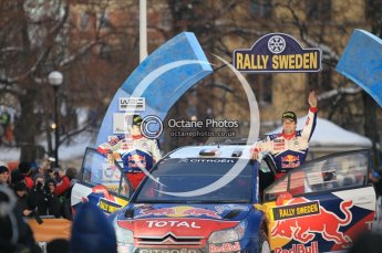 © North One Sport Ltd.2010 / Octane Photographic Ltd.2010. WRC Sweden Podium, February 14th 2010, Sebastien Loeb and Daniel Elena on the podium with their Citroen C4 WRC. Digital Ref : 0138CB1D3129