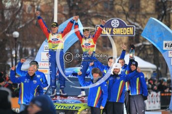 © North One Sport Ltd.2010 / Octane Photographic Ltd.2010. WRC Sweden Podium, February 14th 2010, The victorious Ford team gather on the podium. Digital Ref : 0138CB1D3183