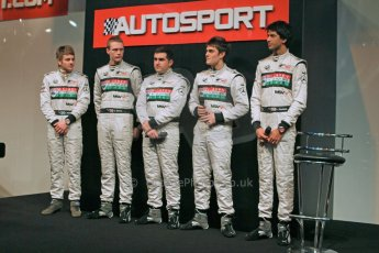 World © Octane Photographic Ltd. McLaren Autosport BRDC Young Drivers. January 14th 2011. 2011 Autosport International Show - NEC, Birmingham. Lewis Williamson (Award Winner), Nigel Moore, Scott Malvern, Jack Harvey and Luciano Bacheta. Digital Ref : 0871cb1d0013
