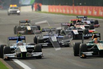 © Octane Photographic Ltd. 2011. Belgian Formula 1 GP, GP2 Race 2 - Sunday 28th August 2011. GP2 Race 2, havoc as the lights go out. Digital Ref : 0205cb1d0211