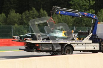 © Octane Photographic Ltd. 2011. Belgian Formula 1 GP, GP2 Race 2 - Sunday 28th August 2011. Jules Bianchi of Lotus ART's car being recovered. Digital Ref : 0205cb7d0401