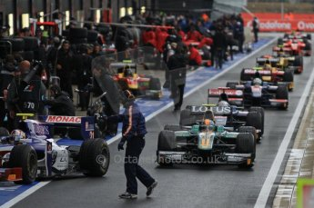World © Octane Photographic Ltd. 2011. British GP, Silverstone, Saturday 9th July 2011. GP2 Practice Session Pit Lane. GP2 Cars head out for Qualifying Session Digital Ref: 0108LW7D5273