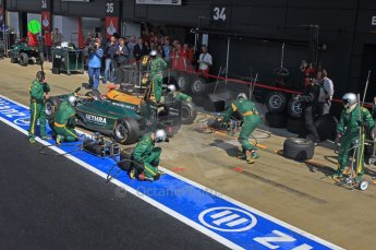 World © Octane Photographic Ltd. 2011. British GP, Silverstone, Saturday 9th July 2011. GP2 Race 1. Jules Bianchi - Lotus ART Pit Stop Action. Digital Ref: 0109LW1D2546