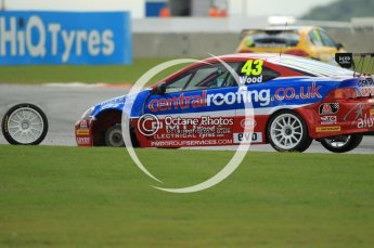 © Octane Photographic Ltd. 2011. British Touring Car Championship – Snetterton 300, Lea Wood - Honda Integra - Central Group racing, looses his front left wheel on race 1's green flag lap. Sunday 7th August 2011. Digital Ref : 0124CB1D4059
