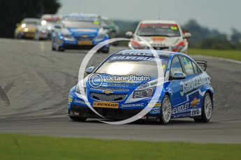 © Octane Photographic Ltd. 2011. British Touring Car Championship – Snetterton 300 Jason Plato - Chevrolet Cruze - Silverline Chevrolet leads the pack around on the 2nd formation lap.. Sunday 7th August 2011. Digital Ref : 0124CB1D4098