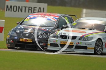 © Octane Photographic Ltd. 2011. British Touring Car Championship – Snetterton 300, Tom Boardman - SEAT Leon - Special Tuning Racing, dives up the inside of Nick Foster - BMW320i - WSR. Sunday 7th August 2011. Digital Ref : 0124CB1D4208