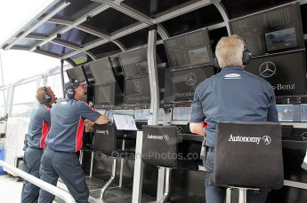© Octane Photographic Ltd. 2011. European Formula1 GP, Friday 24th June 2011. GP2 Practice. iSport International on the Mercedes GP Proton F1 Team pitwall. Digital Ref: 0082CB1D6431