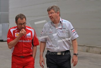 © Octane Photographic Ltd. 2011. European Formula1 GP, Friday 24th June 2011. Formula 1 paddock. Stefano Domenicali - Scuderia Ferrari Marboro & Ross Brawn - Mercedes GP Petronas F1 Team Digital Ref:  0086LW7D6196