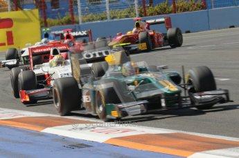 © Octane Photographic Ltd. 2011. European Formula1 GP, Sunday 26th June 2011. GP2 Sunday race. Esteban Gutiérrez - Lotus ART, followed by Luiz Razia - Caterham Team AirAsia. Digital Ref:  0090CB1D9291