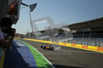 © Octane Photographic Ltd. 2011. European Formula1 GP, Sunday 26th June 2011. GP3 Sunday race. James Calado - Lotus ART takes the chequered flag for the win. Digital Ref:  0091CB1D8835