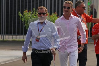 © Octane Photographic Ltd. 2011. Formula 1 World Championship – Italy – Monza – 11th September 2011. Race Day in the Paddock. David Coultard and Martin Brundle. Digital Ref : 0193LW7D6448