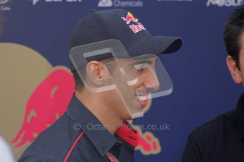 © Octane Photographic Ltd. 2011. Formula 1 World Championship – Italy – Monza – 11th September 2011. Race Day in the Paddock. Sebastien Buemi in the paddock before the race doing an interview. Digital Ref : 0193LW7D6681