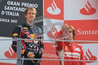 © Octane Photographic Ltd. 2011. Formula 1 World Championship – Italy – Monza – 11th September 2011 – Podium – Sebastian Vettel (Red Bull) and Fernando Alonso (Ferrari) on the podium. Digital Ref : 0178CB1D4152