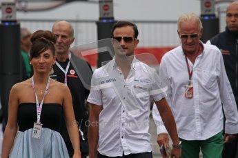 © Octane Photographic Ltd. 2011. Formula 1 World Championship – Italy – Monza – 10th September 2011 - John Button with Viantonio Liutzi of HRT – Free practice 3 – Digital Ref :  0175LW7D5952