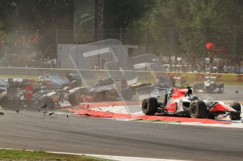 © Octane Photographic Ltd. 2011. Formula 1 World Championship – Italy – Monza – 11th September 2011 - Debris showers the track after the accident caused by Viantonio Liutzi (HRT) takes out Nico rosberg (Mercedes) and Vitaly Petrov (Renault) – Race – Digital Ref : 0177CB7D7861