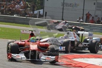 © Octane Photographic Ltd. 2011. Formula 1 World Championship – Italy – Monza – 11th September 2011 Felipe Massa (Ferrari) and Sergio Perez (Sauber) – Race – Digital Ref :  0177CB7D8064