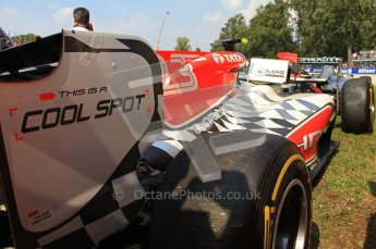 © Octane Photographic Ltd. 2011. Formula 1 World Championship – Italy – Monza – 11th September 2011 – Race – Viantio Liutzi's HRT languisheds behind Nico Rosberg's Mercedes after being cleared from the track after their clash at corner 1. Digital Ref : 0177CB7D8084