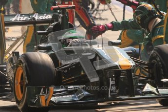 © Octane Photographic Ltd. 2011. Formula 1 World Championship – Italy – Monza – 11th September 2011 Heikki Kvalainen is released from his Lotus pitbox after his final pit stop– Race – Digital Ref :  0177CB7D8206