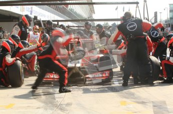 © Octane Photographic Ltd. 2011. Formula 1 World Championship – Italy – Monza – 11th September 2011 Timo Glock's Virgin Racing VMR02 is just about to be released from his pit box after his final stop for tyres – Race – Digital Ref : 0177CB7D8221