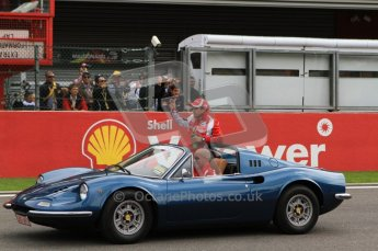 © Octane Photographic Ltd. 2011. Formula One Belgian GP – Spa – Sunday 28th August 2011 – Drivers' parade and starting grid. Feilpe Massa in the Ferrari 246GTS Dino. Digital Reference : 0167cb7d0481