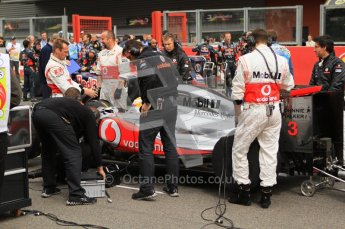© Octane Photographic Ltd. 2011. Formula One Belgian GP – Spa – Sunday 28th August 2011 – Drivers' parade and starting grid. The McLaren team prepare Lewis Hamilton's car on the grid. Digital Reference : 0167cb7d0854