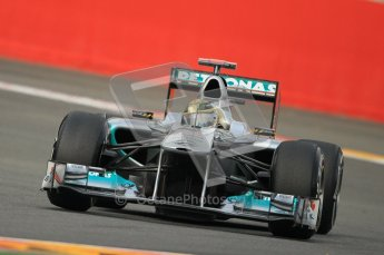 © Octane Photographic Ltd. 2011. Formula One Belgian GP – Spa – Friday 26th August 2011 – Free Practice 1, Michael Schumacher - Mercedes MGP W02. Digital Reference : 0163CB1D7006