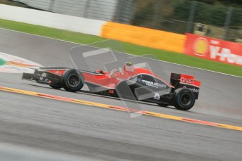 © Octane Photographic Ltd. 2011. Formula One Belgian GP – Spa – Friday 26th August 2011 – Free Practice 1, Jerome d'Ambrosio - Marussia Virgin Racing VMR02. Digital Reference : 0163CB7D0409
