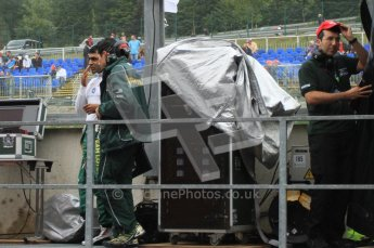 © Octane Photographic Ltd. 2011. Formula One Belgian GP – Spa – Friday 26th August 2011 – Free Practice 1, Team Lotus pitwall. Digital Reference : 0163LW7D1922