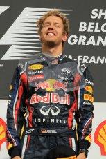 © Octane Photographic Ltd. 2011. Formula One Belgian GP – Spa – Sunday 28th August 2011 – Sebastian Vettel proudly listens to his national anthem. Digital Reference : 0169cb1d1027