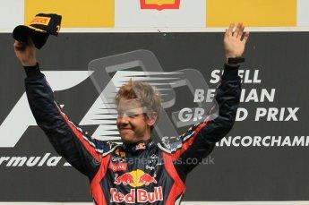 © Octane Photographic Ltd. 2011. Formula One Belgian GP – Spa – Sunday 28th August 2011 – Sebastian Vettel salutes the crowd. Digital Reference : 0169cb1d1045