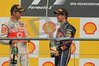 © Octane Photographic Ltd. 2011. Formula One Belgian GP – Spa – Sunday 28th August 2011 – Sebastian Vettel and Jenson Button on the podium. Digital Reference : 0169cb1d1156