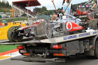 © Octane Photographic Ltd. 2011. Formula One Belgian GP – Spa – Sunday 28th August 2011 – Race. Lewis Hamilton's mangled McLaren MP4/26 being recovered to the team's garage after the race. Digital Reference : 0168cb7d1007