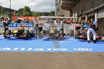 © Octane Photographic Ltd. 2011. Formula One Belgian GP – Spa – Sunday 28th August 2011 – Race. The Top 3 cars, Red Bull and McLaren Digital Reference : 0168cb7d1014
