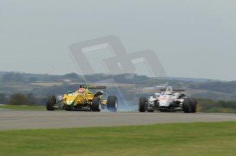© Octane Photographic 2011 – Formula 3. Race 1. 24th September 2011, Felipe Nasr, Carlin - Dallara F308 Volkswagen hard on the brakes passing Menaseh Idafar. Digital Ref : 0184lw1d5848
