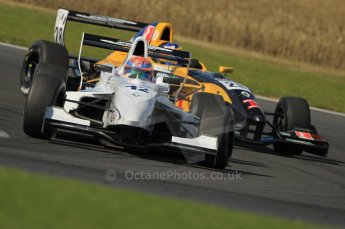 © Octane Photographic Ltd. 2011. Formula Renault 2.0 UK – Snetterton 300, Jack Hawksworth leads Tio Ellinas both of Atech Reid GP around Montreal hairpin. Sunday 7th August 2011. Digital Ref : 0123CB1D3815
