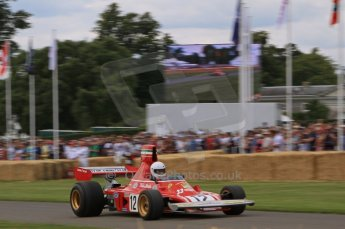 © Octane Photographic 2011. Goodwood Festival of Speed, Friday 1st July 2011. Ex-Lauda Ferrari 312B3. Digital Ref : 0097LW7D8551