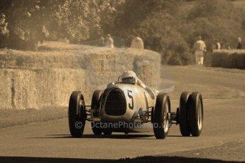 © Octane Photographic 2011. Goodwood Festival of Speed, Historic F1 Auto Union,  Friday 1st July 2011. Digital Ref : 0101CB15495-sepia